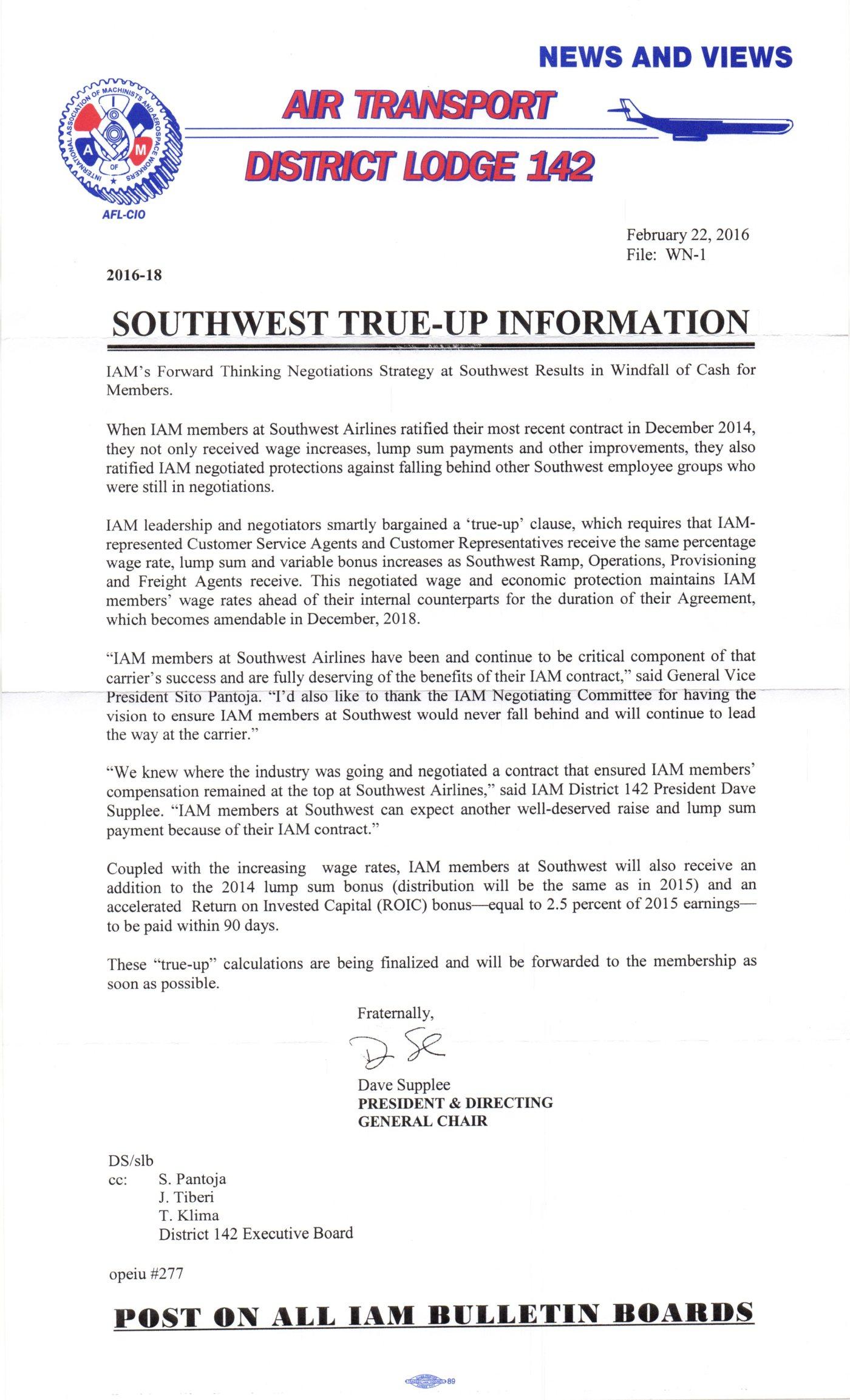 Southwest true up information iam local lodge 1726 platinumwayz