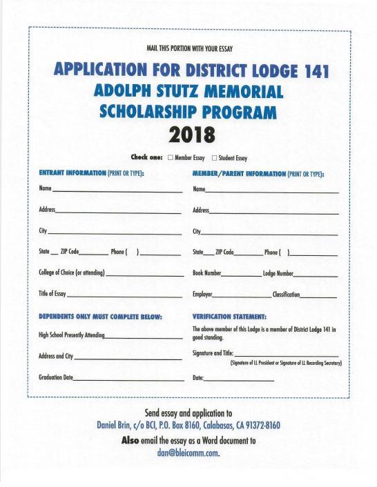 2018 141 scholarship application