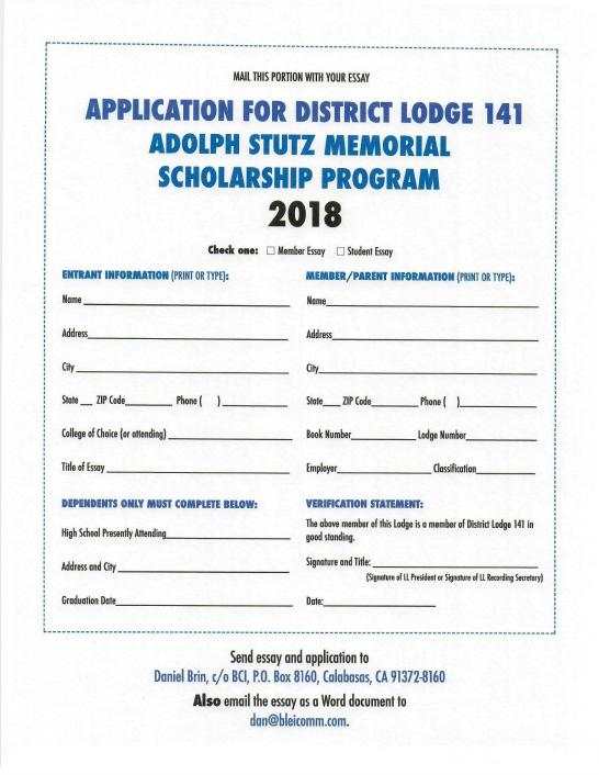 2018 141 scholarship application