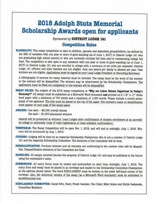 2018 141 scholarship rules