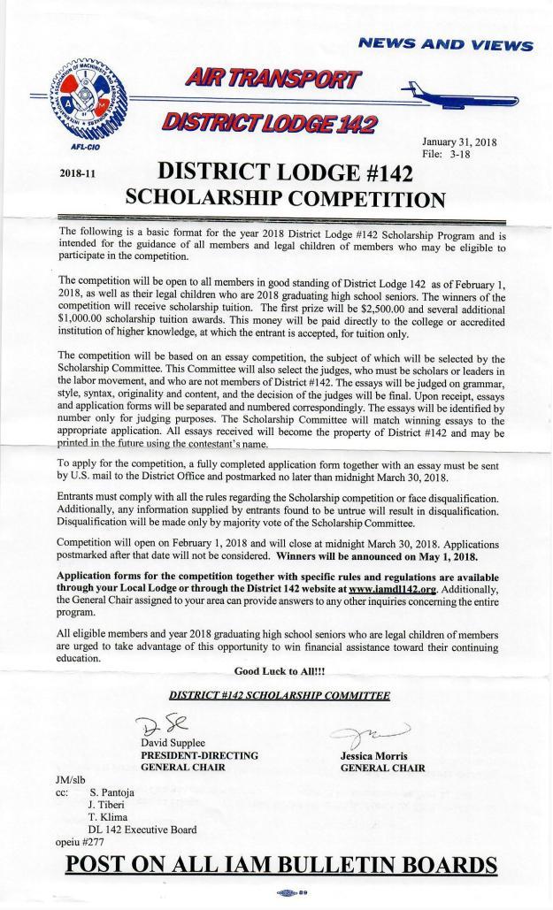 2018 142 scholarship