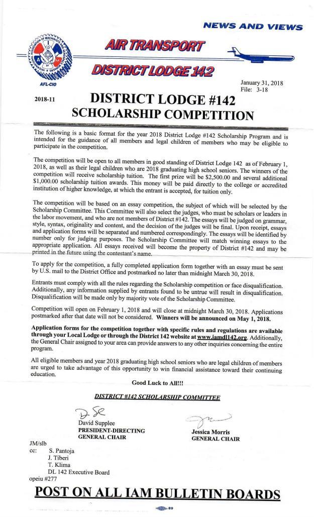 dl142 scholarship 2018