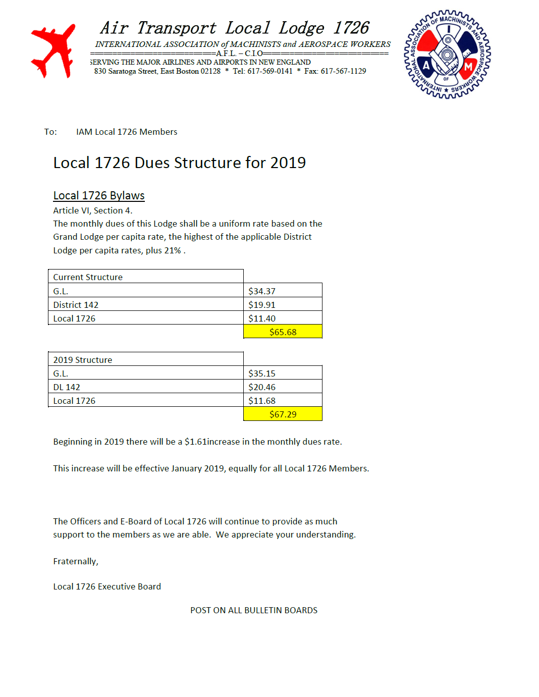 2019 dues structure
